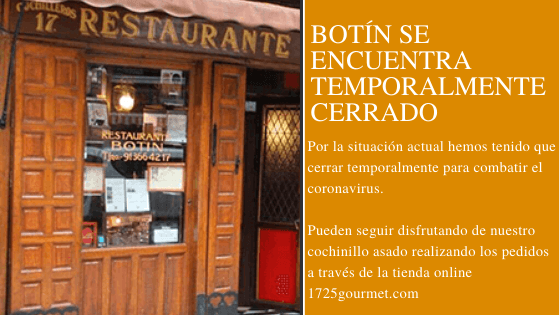 Restaurante Botín cerrado temporalmente